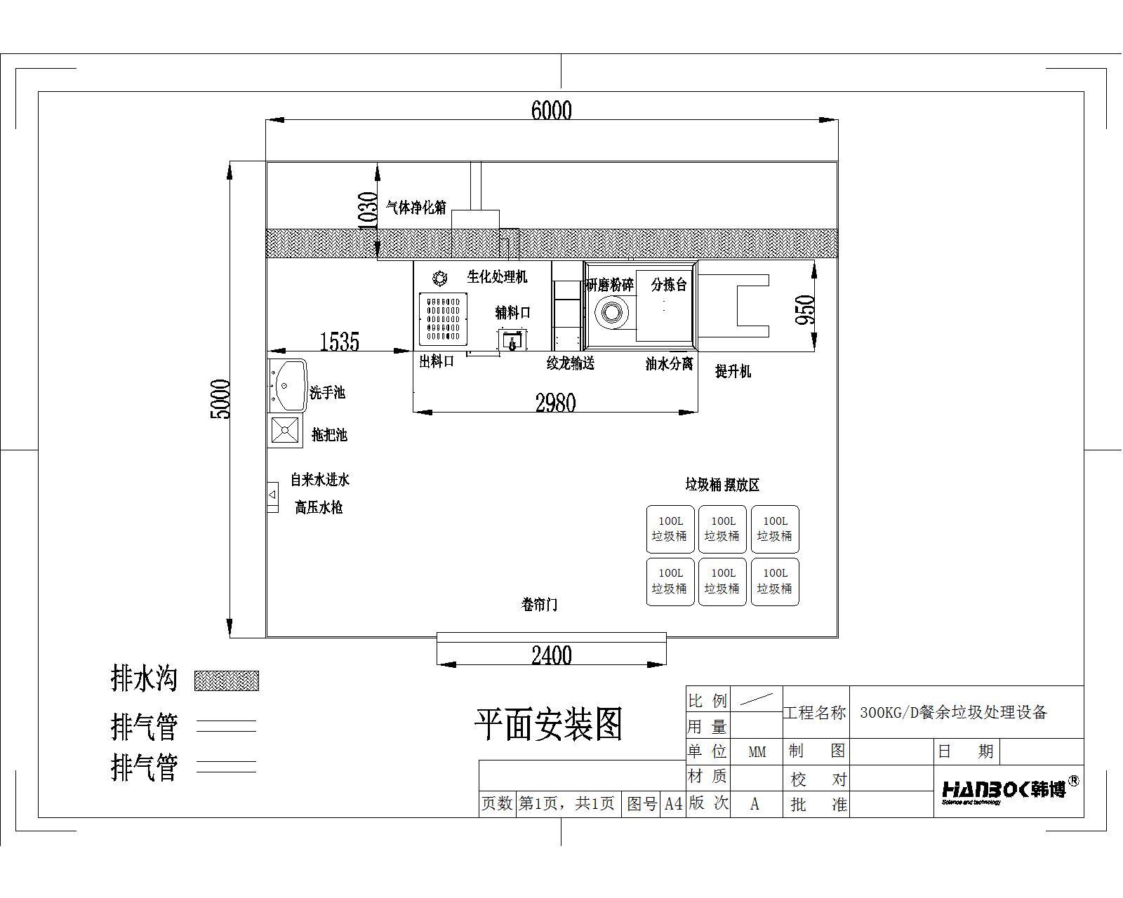韩博厨余垃圾处理设备平面安装图1-厨余300
