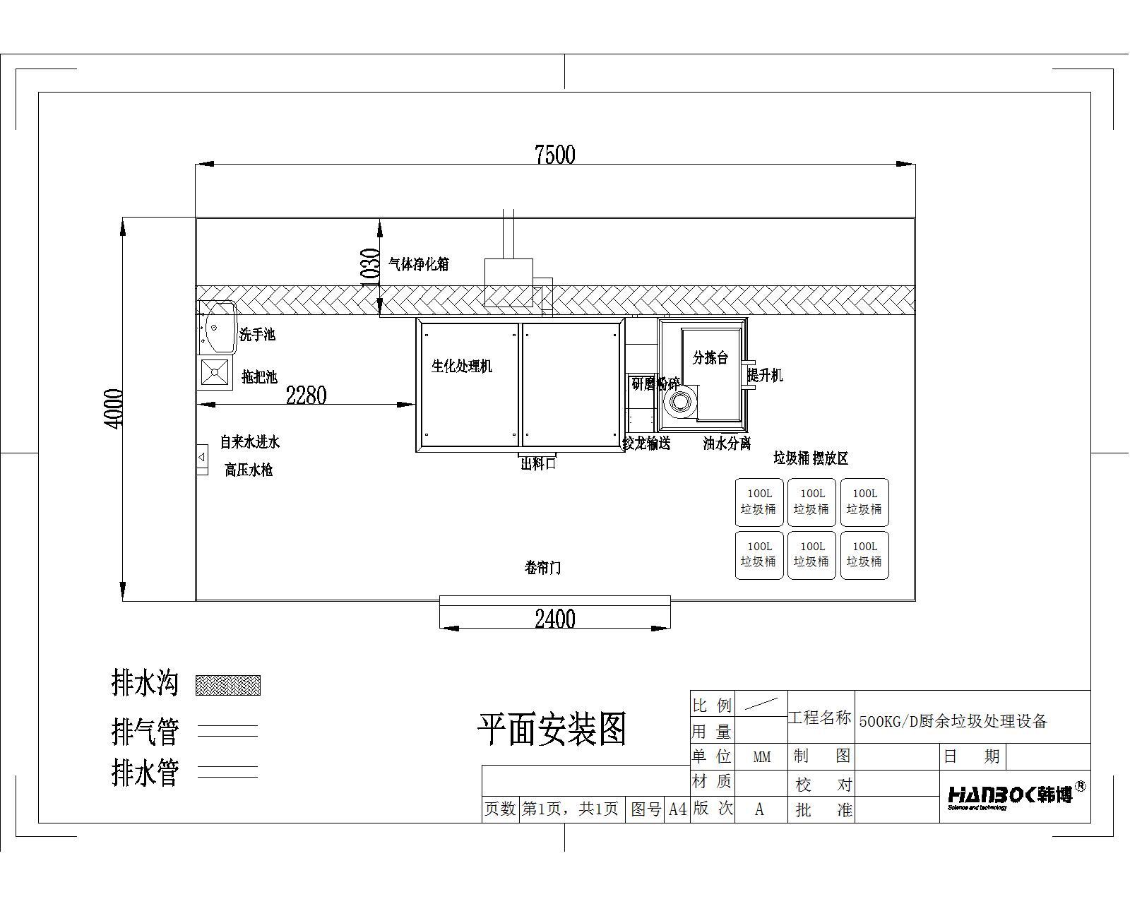 韩博500kg厨余垃圾处理设备平面安装图1
