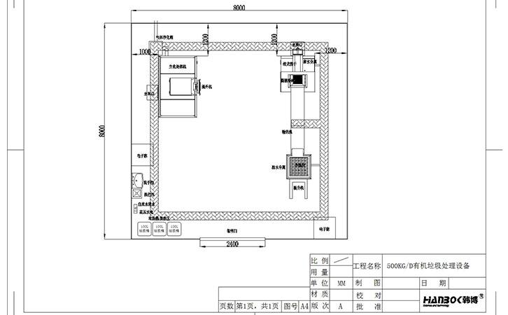 韩博500kg有机垃圾处理设备平面安装图01